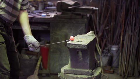 smith forging red hot iron Footage