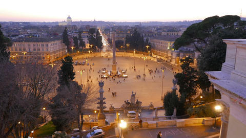 Piazza Del Popolo At Sunset. Twilight. Rome, Italy. 1280x720 stock footage