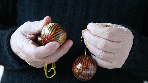 Man With Christmas Ornaments stock footage