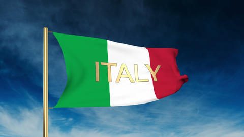 Italy Flag Slider Style With Title. Waving In The Wind With Cloud Background Ani stock footage