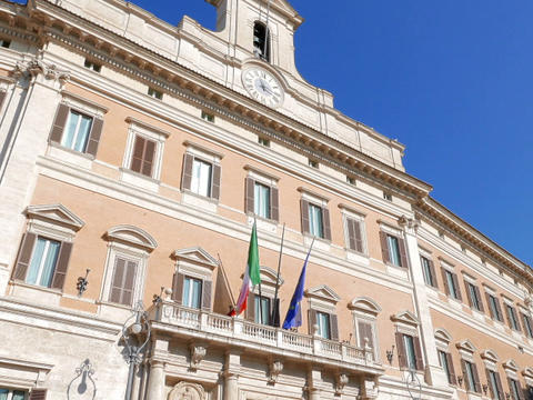 Palazzo Montecitorio. Rome, Italy - February 18, 2015: Baroque Palace, Which Sit stock footage
