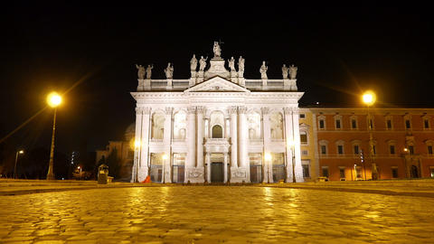 Basilica San Giovanni In Laterano. Night. Rome, Italy stock footage