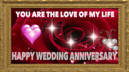 WEDDING ANNIVERSARY DIGITAL CARD stock footage
