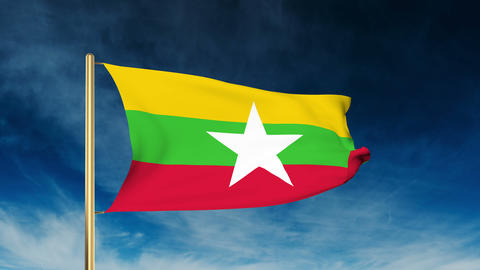 Burma flag slider style. Waving in the wind with cloud background animation Animation