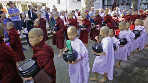 Buddhist Monk Procession For Lunch stock footage