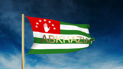 Abkhazia flag slider style with title. Waving in the wind with cloud background  Animation