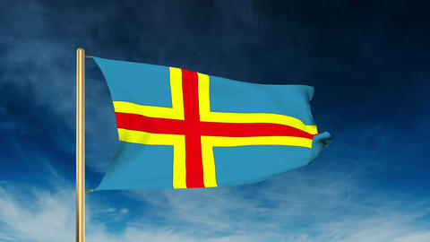 Aland Islands Flag Slider Style. Waving In The Win With Cloud Background Animati stock footage