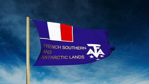 French Southern And Antarctic Lands Flag Slider Style With Title. Waving In The  stock footage