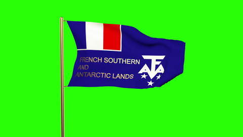 French Southern And Antarctic Lands Flag With Title Waving In The Wind. Looping  stock footage