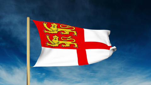 Sark Flag Slider Style. Waving In The Win With Cloud Background Animation stock footage