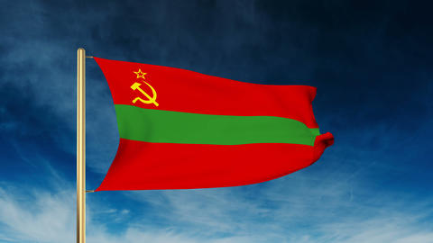 Transnistria Flag Slider Style. Waving In The Win With Cloud Background Animatio stock footage