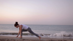 Yoga Girl Beach Sunrise Helathy Lifestyle stock footage