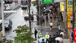 Rain Tokyo Pedestrian Japan People City Umbrella 4k stock footage