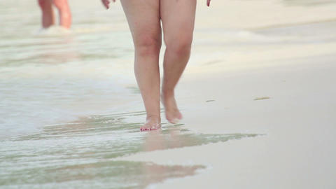Walking on the beach Footage