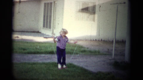 (1950s 8mm Vintage) Learning Rope Jumping Footage