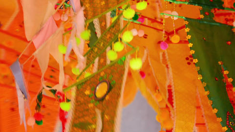 Colorfully Ornamented Festival Flags In Cambodia stock footage