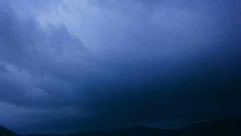 Timelapse Shot of Stormclouds Building and a Lightning Bolt Footage