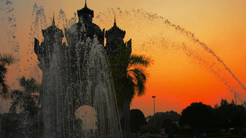 Patuxai Victory Arch In Vientiane. Laos At Sunset stock footage
