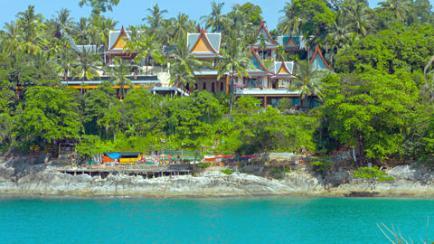 Luxury Resort Tucked Away Behind Treeline In Thailand stock footage