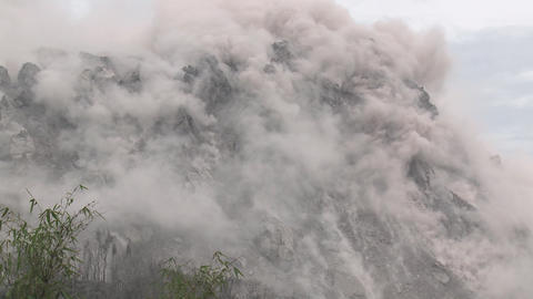 Earthquake Shakes Volcano Lava Dome Rare Footage stock footage