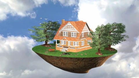 Flying island Live Trees Environment 3D Animation Animation