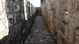 Walk Along Inside Of The Jerusalem Old City Walls stock footage