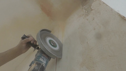 Angle Grinder Cut A Wall With Lots Of Dust stock footage