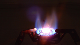 Camping Stove Burning, Close Up, Loop stock footage