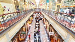4k Timelapse Video Of People Shopping In Adelaide Arcade stock footage