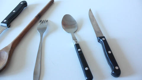 Kitchen Cutlery stock footage