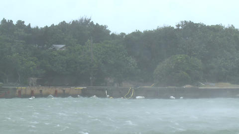 Tropical Storm Strong Winds Blow Over Harbor stock footage