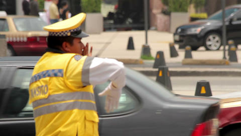 Mexico City, Mexico-CIRCA June, 2014: Full Shot Police Directing Traffic stock footage