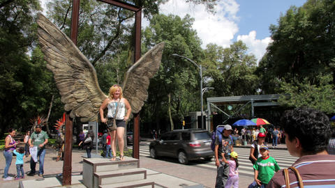 Mexico City, Mexico-CIRCA July,2014: Tourists Taking Pictures In Wings Structure stock footage