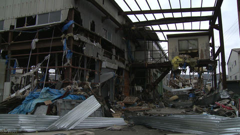Japan Tsunami Aftermath - Damage To Industrial Buildings In Port stock footage