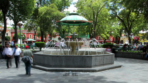 Tlaxcala, Mexico-August 2014: TIME LAPSE-DOLLY OUT. Main Park In Downtown stock footage