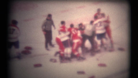 (8mm Vintage 1970s) Hockey Fight From Above. A Bunch Of Hockey Players Fighting stock footage