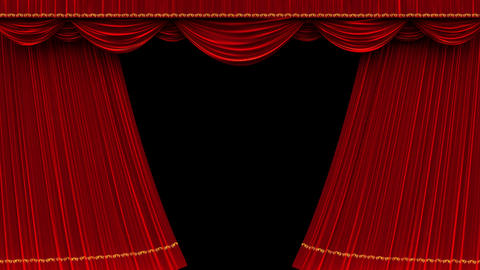 4K Theater curtain opening with alpha matte Animation