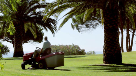 Ride On Lawn Mower A stock footage