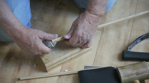 Cutting Narrow Strip Of Wood stock footage