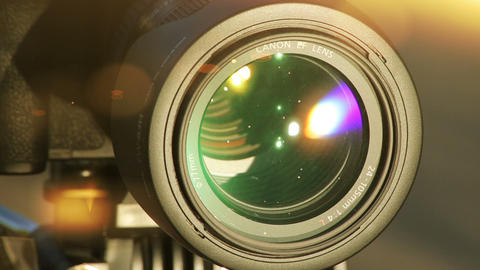 Flares On Lens. Close-up Shot Of Professional Camera. HD 1080 stock footage