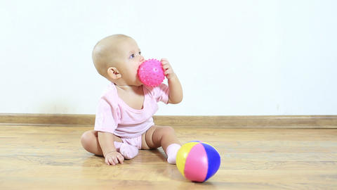 Little Child Play And Crawl On The Floor In The Room stock footage