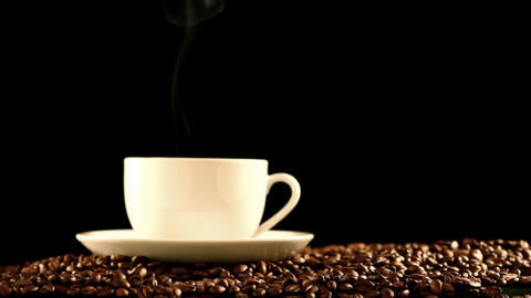 Cup Of Coffee On Beans stock footage