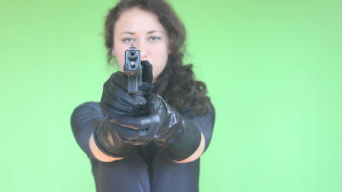 Green Screen Girl Shooting With Gun 3 stock footage