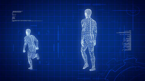 Blue medical science futuristic background, loopable CG動画素材