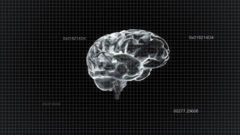 White Brain Rotate With Timecode stock footage