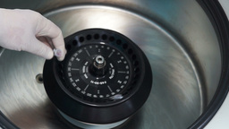 Centrifuge In Pharmaceutical Laboratory stock footage