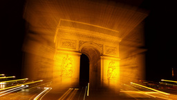 Arc Du Triomphe At Night, Paris France stock footage