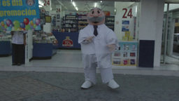 Mexican Pharmacy Doctor Dance Promotion stock footage