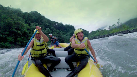 White Water River Rafting Boat With People Model Release Extreme Sport stock footage