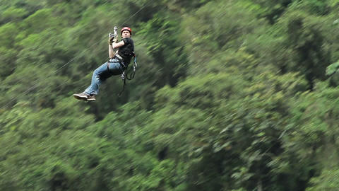 Relaxed zip line HD Footage